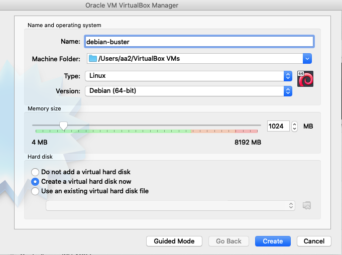 Creation VM Debian Buster sous VirtualBox - 1